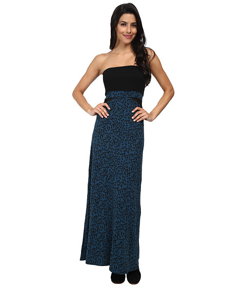 Hurley - Tomboy Mesh Maxi Dress/Optional Foldover Skirt (Space Blue Leopard) Women's Dress