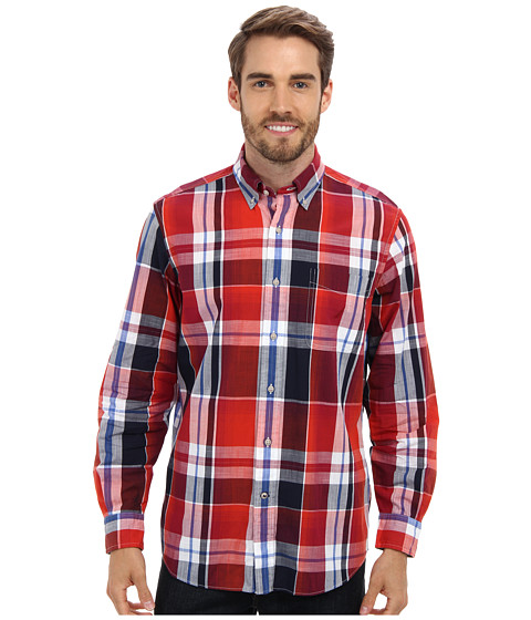 Nautica - L/S Cotton Large Plaid Shirt (Tomales Red) Men's Long Sleeve Button Up