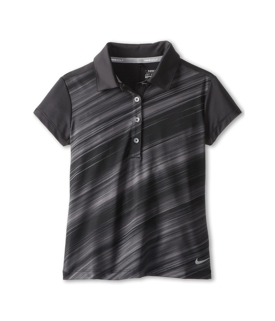 Nike Kids - Seasonal Stripe Polo (Little Kids/Big Kids) (Black/Metallic Silver) Girl's Workout