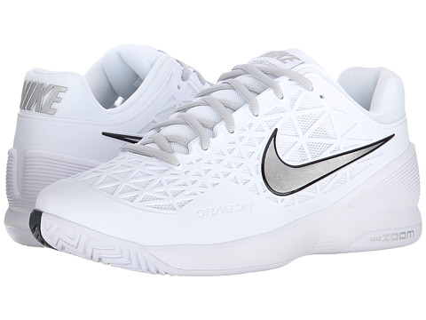 Nike - Zoom Cage 2 (White/Pure Platinum/Metallic Silver) Women's Tennis Shoes