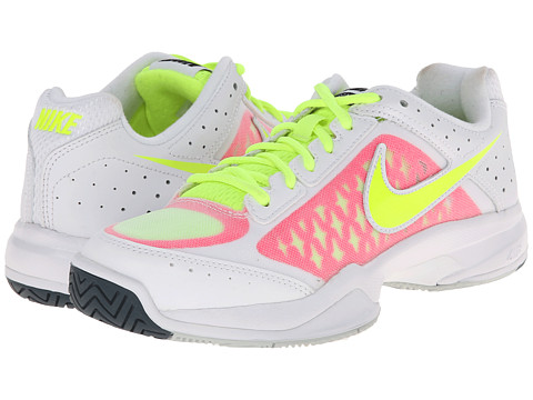 Nike - Air Cage Court (White/Pink Pow/Grey Mist/Volt) Women's Tennis Shoes