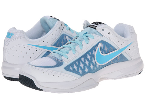 Nike - Air Cage Court (White/Ice Cube Blue/Light Blue Lacquer/Clearwater) Women