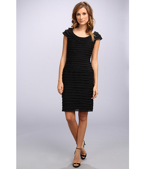 Adrianna Papell - Novelty Shutter Tuck Dress (Black) Women's Dress