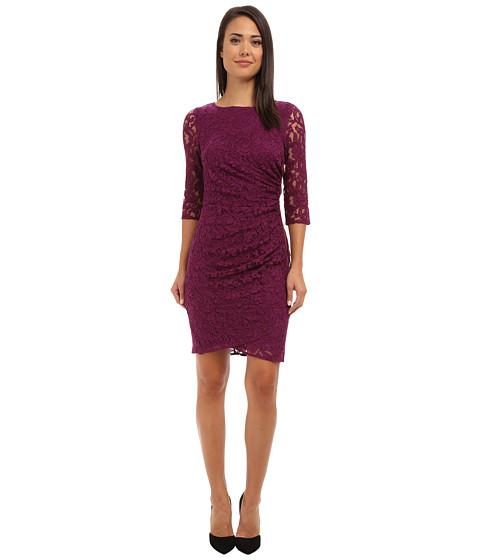 Adrianna Papell - 3/4 Sleeve Lace Dress (Cassis) Women's Dress