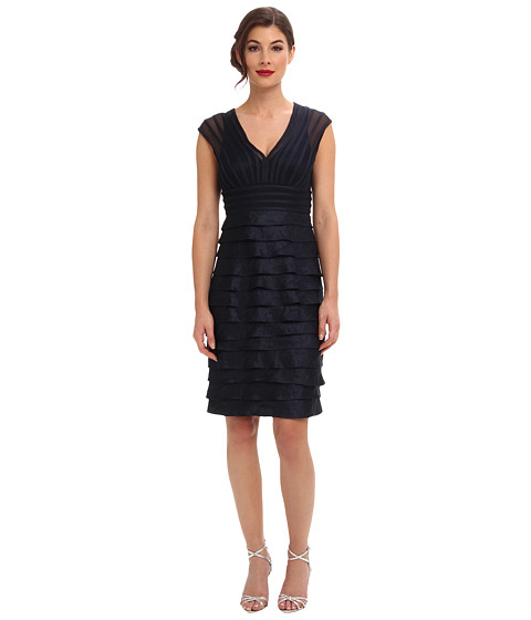 Adrianna Papell - Shimmer Net Combo Shutter (Eclipse) Women's Dress
