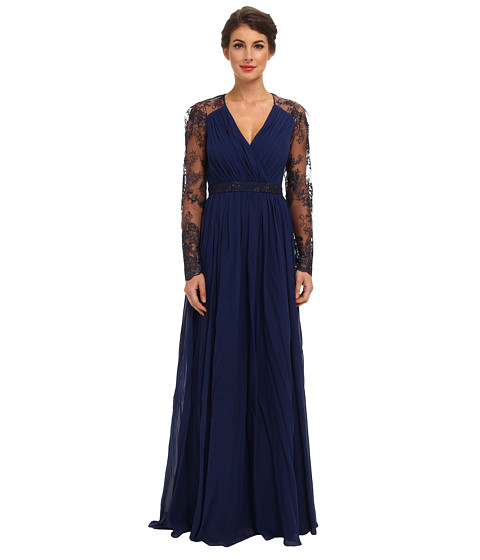 Badgley Mischka - L/S Lace Sleeve Gown (Navy) Women's Dress