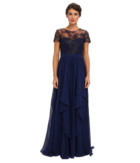 Badgley Mischka - Lace T-Shirt Top Gown (Navy) Women's Dress