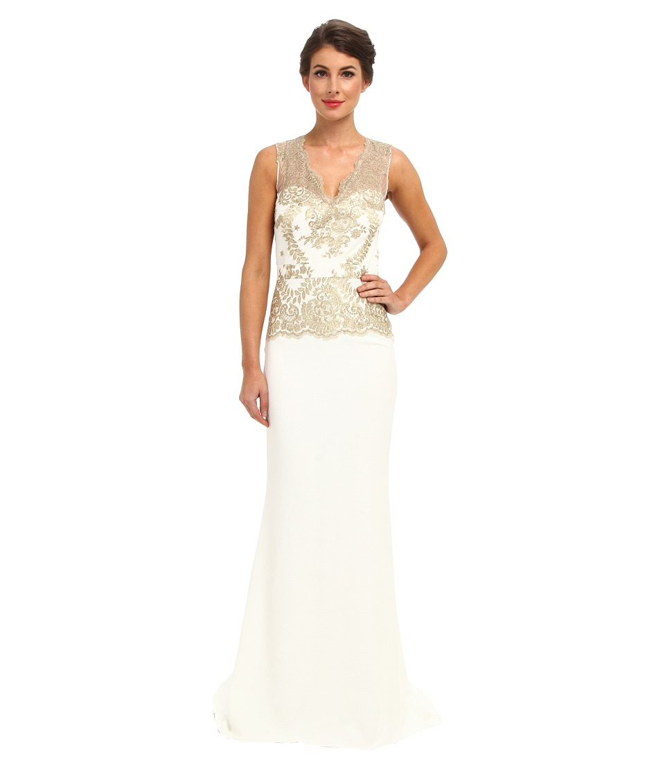 Badgley Mischka - Gold Lace Gown (Ivory Gold) Women's Dress