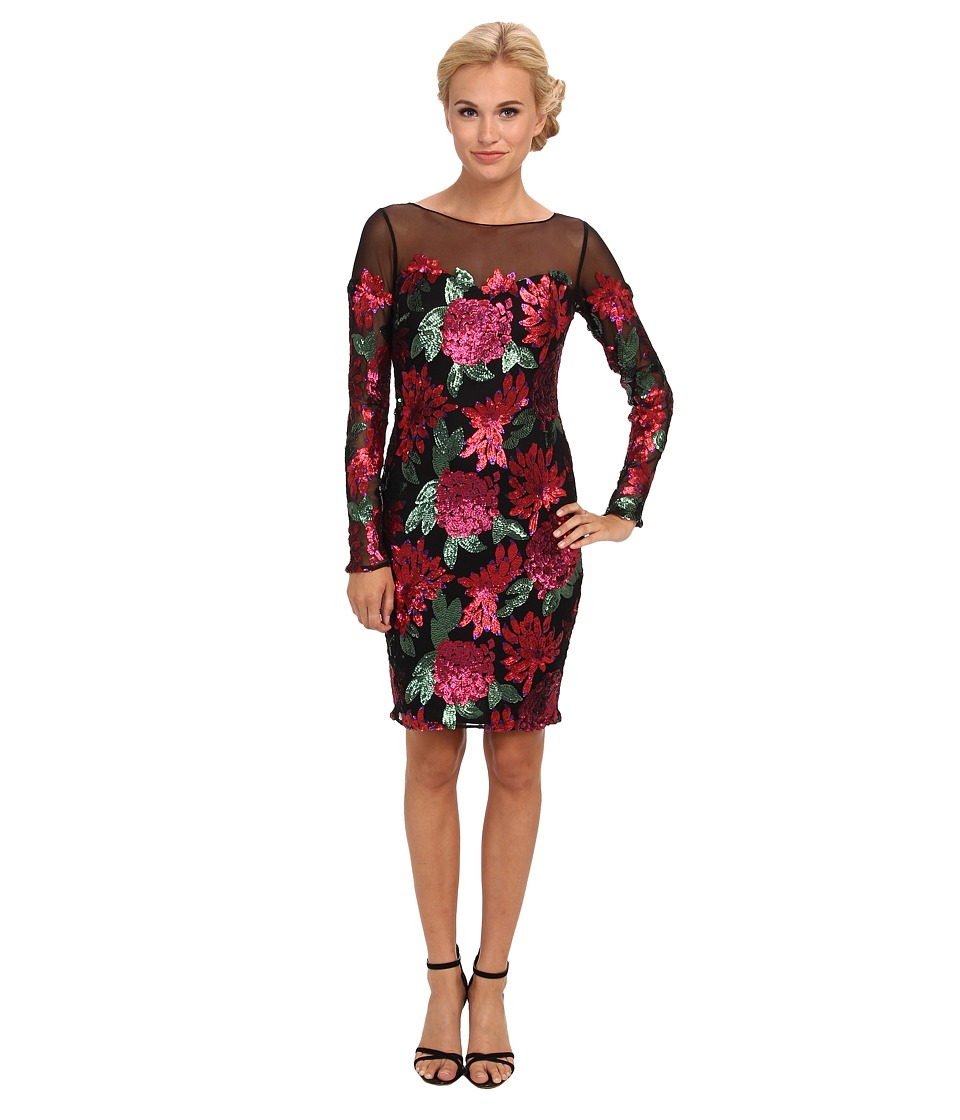 Badgley Mischka - Sequin Floral L/S Cocktail (Red) Women's Dress