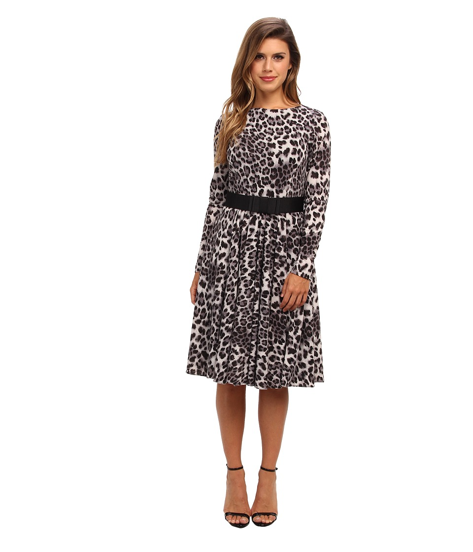 Badgley Mischka - Crew Neck Flare (Grey Multi) Women's Dress