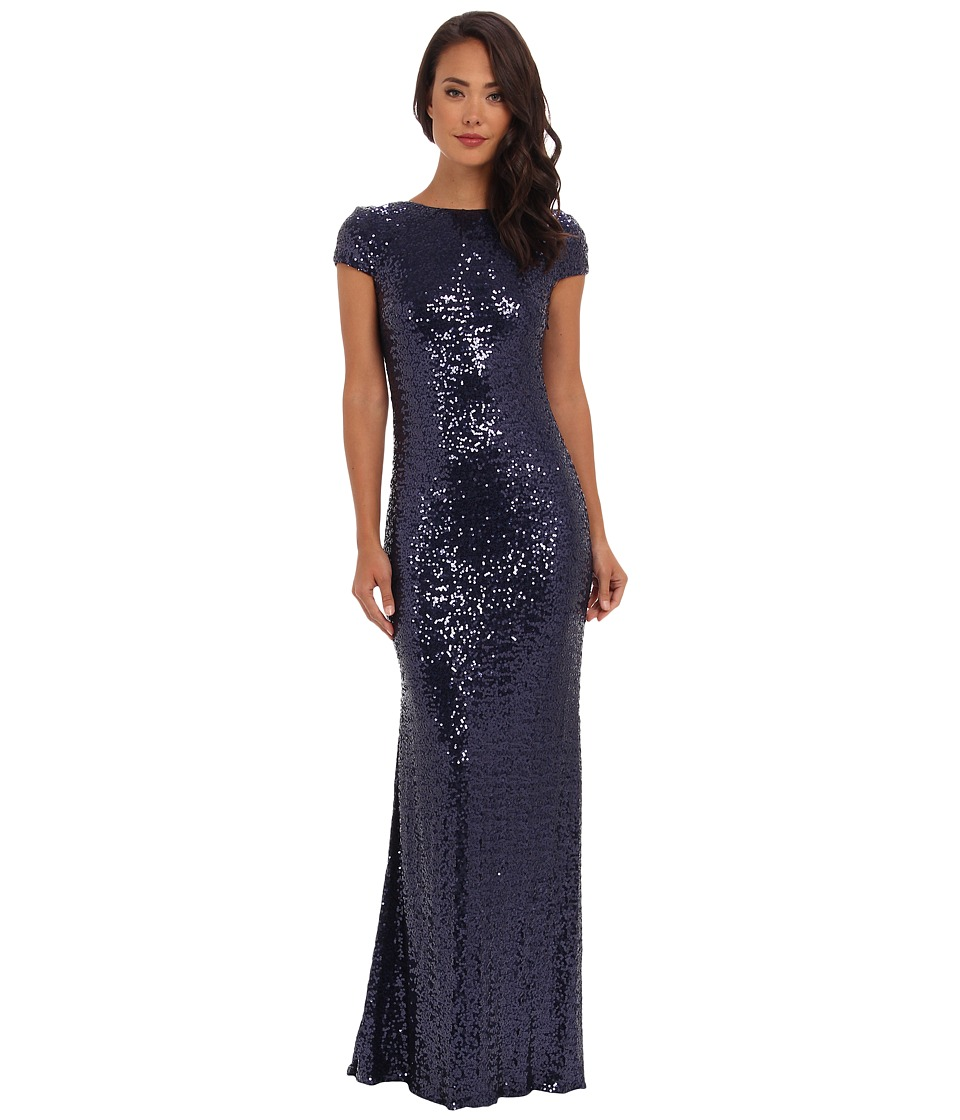 Badgley Mischka - Cowl Back Sequin (Navy) Women's Dress