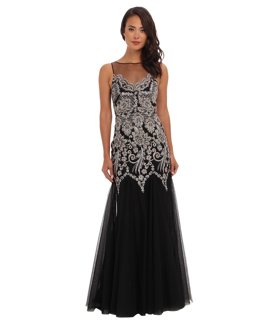 Badgley Mischka - Caviar Sequin Gown (Black) Women's Dress
