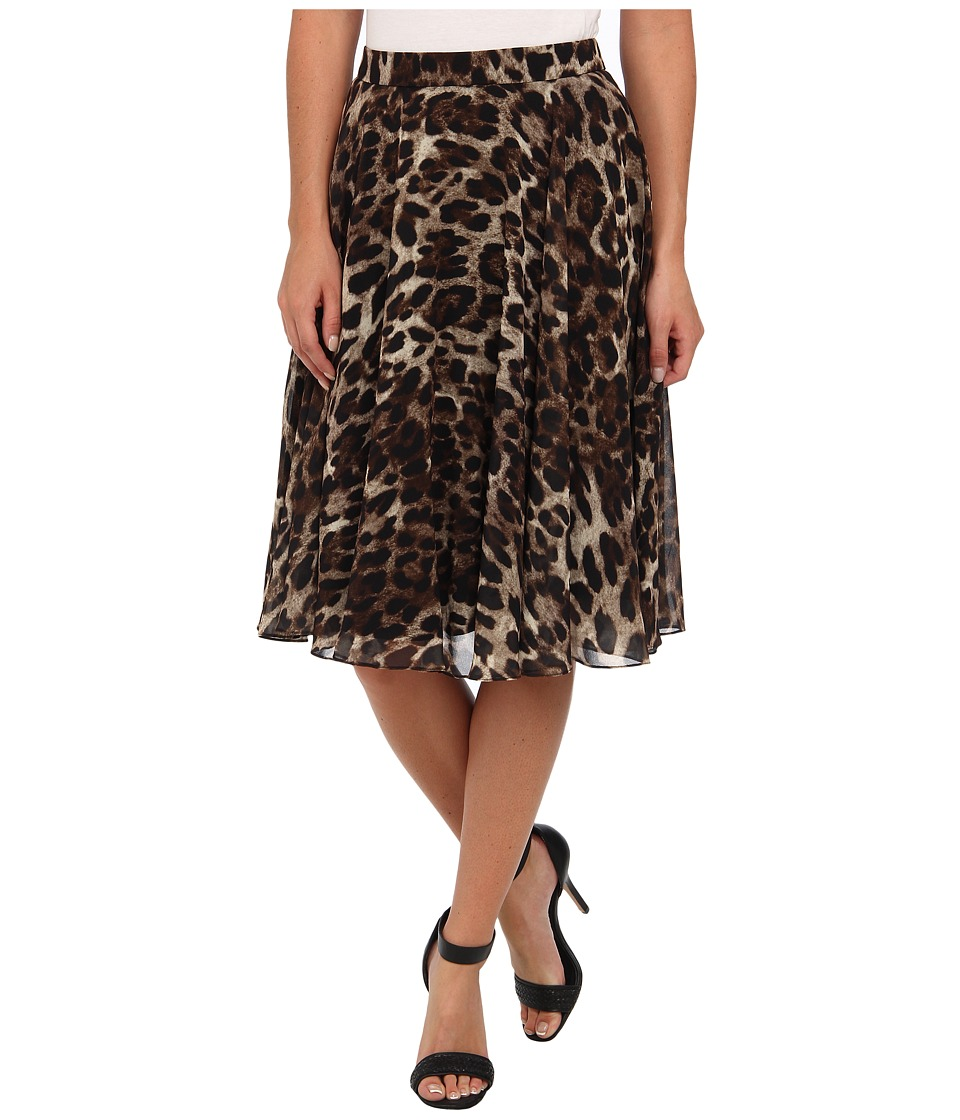 Badgley Mischka - Leopard Flare Skirt (Black Multi) Women's Skirt