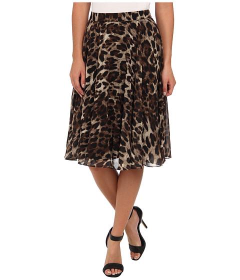 Badgley Mischka - Leopard Flare Skirt (Black Multi) Women