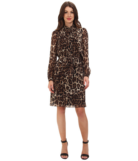 Badgley Mischka - Leopard L/S Cocktail (Black Multi) Women's Dress