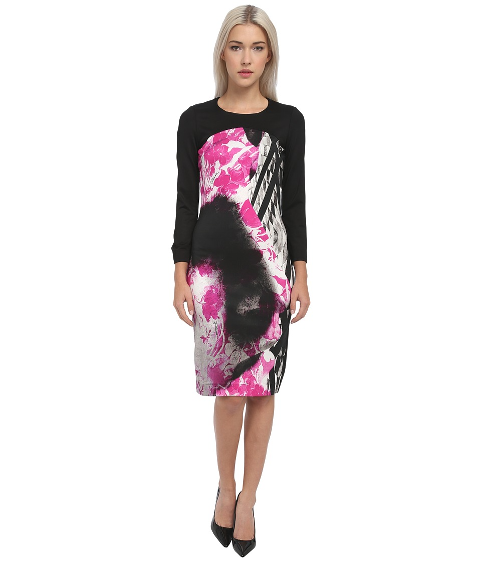 Just Cavalli - Long Sleeve Printed Dress (Black) Women's Clothing