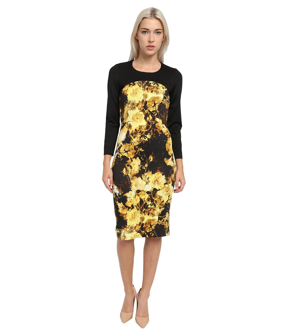 Just Cavalli - Long Sleeve Floral Print Dress (Brown) Women's Clothing