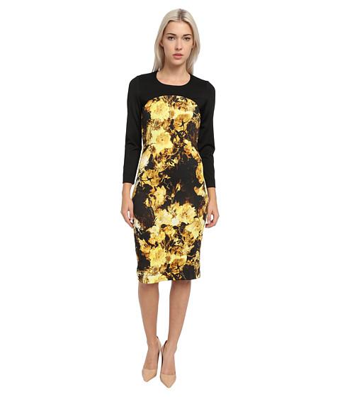 Just Cavalli - Long Sleeve Floral Print Dress (Brown) Women