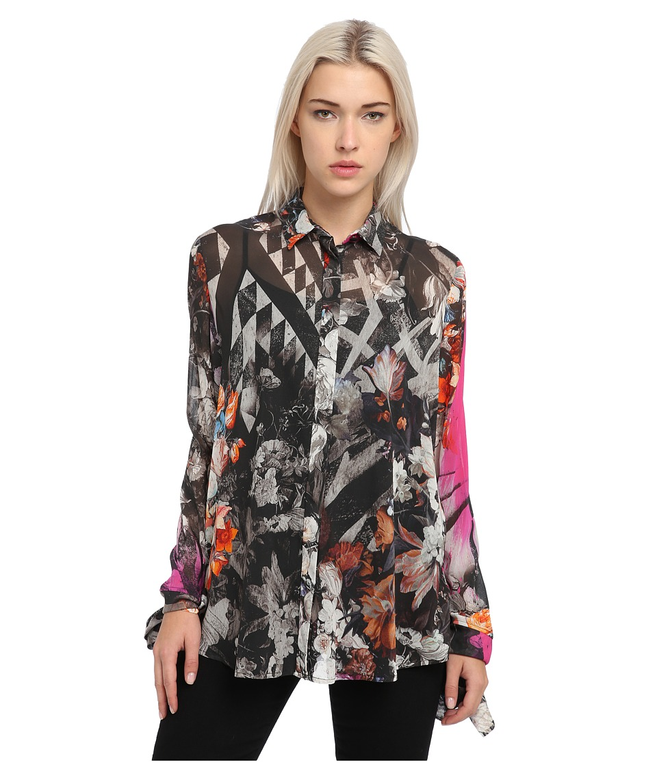 Just Cavalli - Long Sleeve Printed Sheer Top (Fuchsia) Women's Blouse