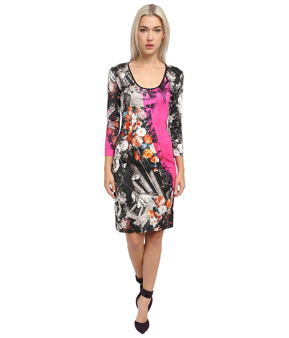 Just Cavalli - 3/4 Sleeve Printed Dress (Fuchsia) Women's Clothing