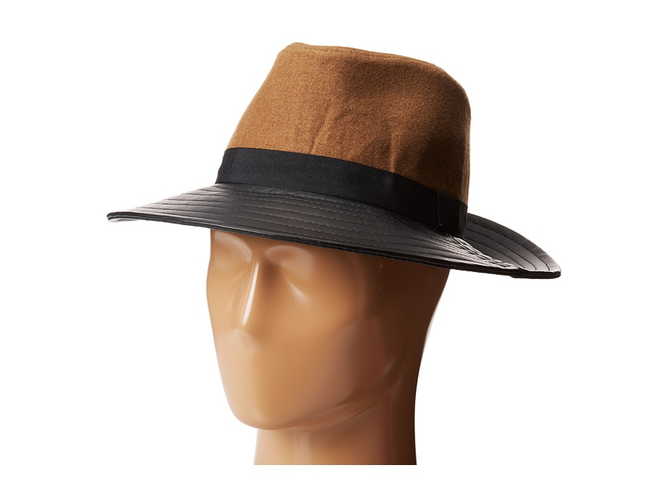 BCBGeneration - Pleather Flannel Panama (Latte) Traditional Hats