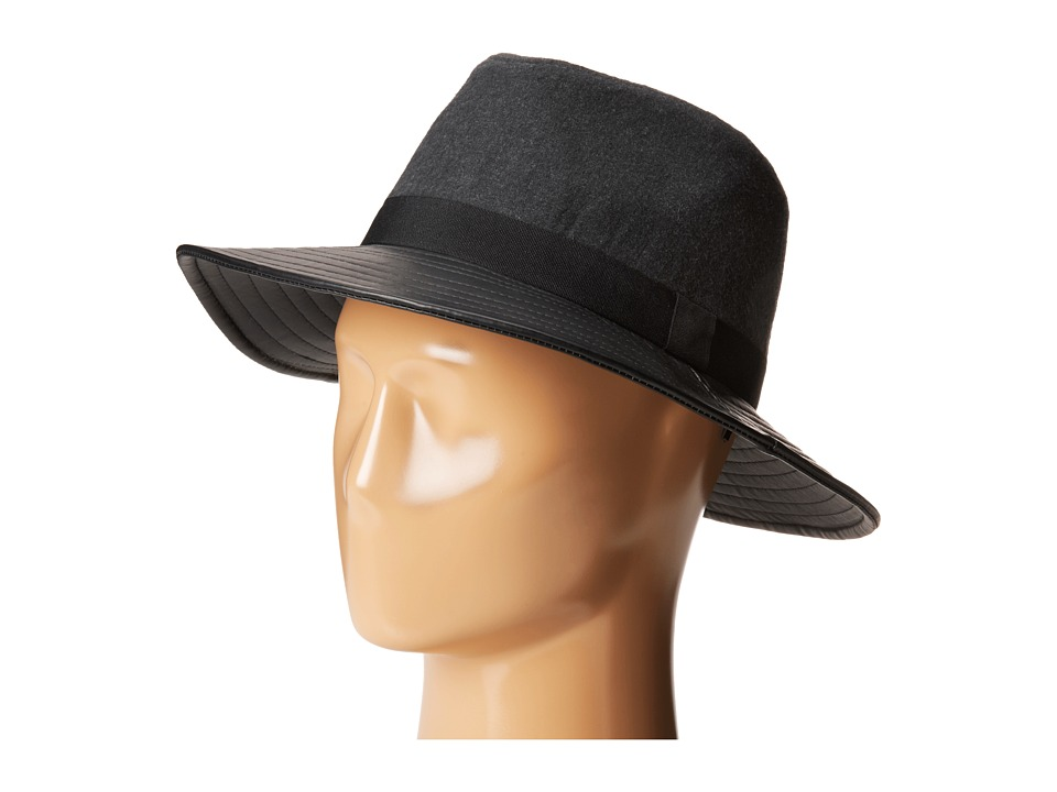 BCBGeneration - Pleather Flannel Panama (Pebble Grey) Traditional Hats