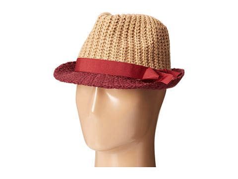 BCBGeneration - Color Block Bow Fedora (Wineberry) Fedora Hats