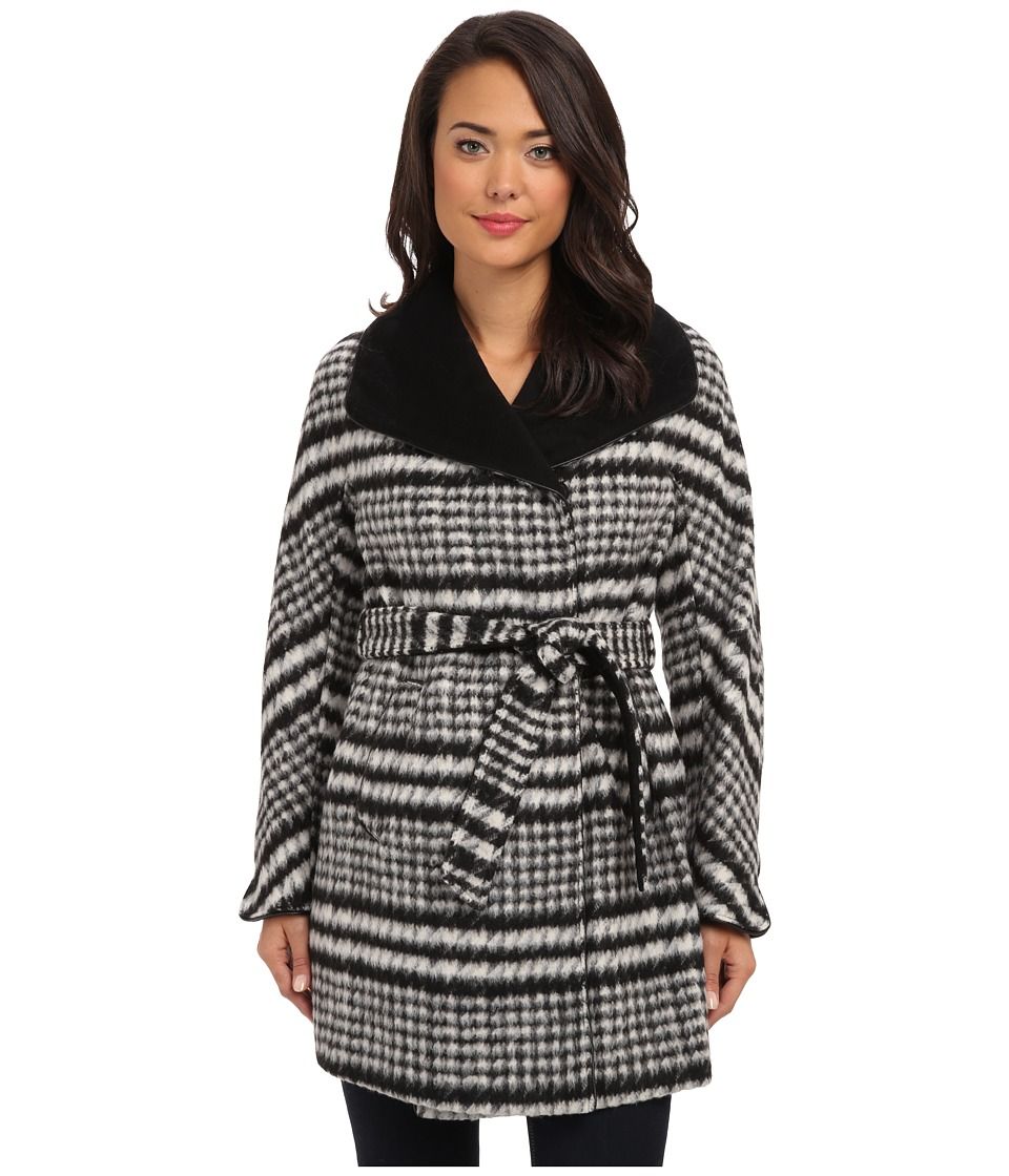 Ellen Tracy - Belted Wrap Walker Coat (Black/White) Women's Coat
