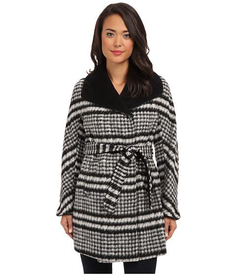 Ellen Tracy - Belted Wrap Walker Coat (Black/White) Women