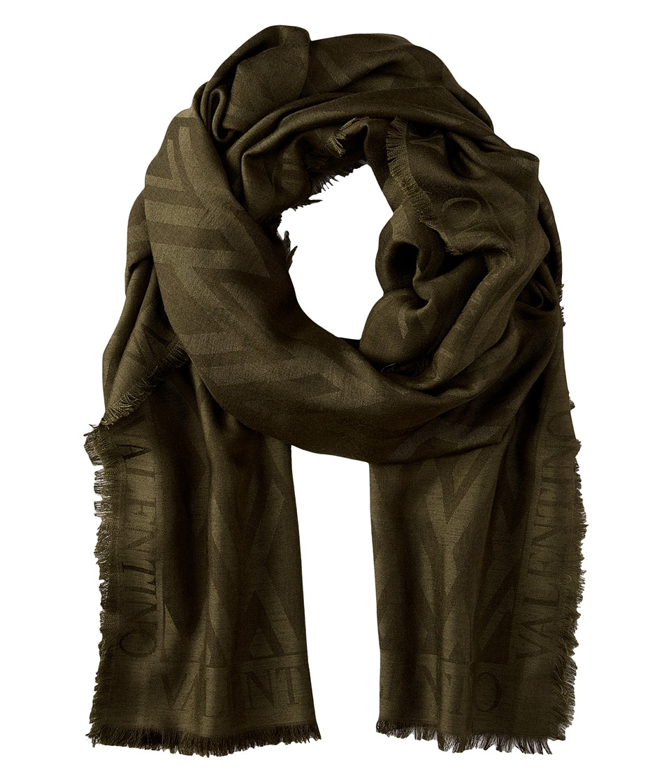 Valentino - V Allover Silk Wool Jacquard Scarf (Green) Scarves
