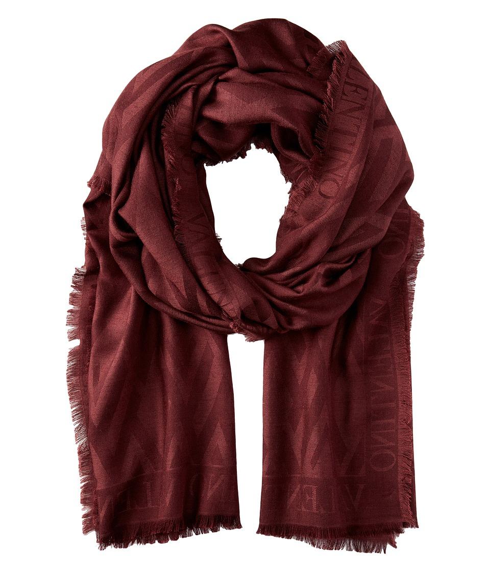 Valentino - V Allover Silk Wool Jacquard Scarf (Maroon) Scarves