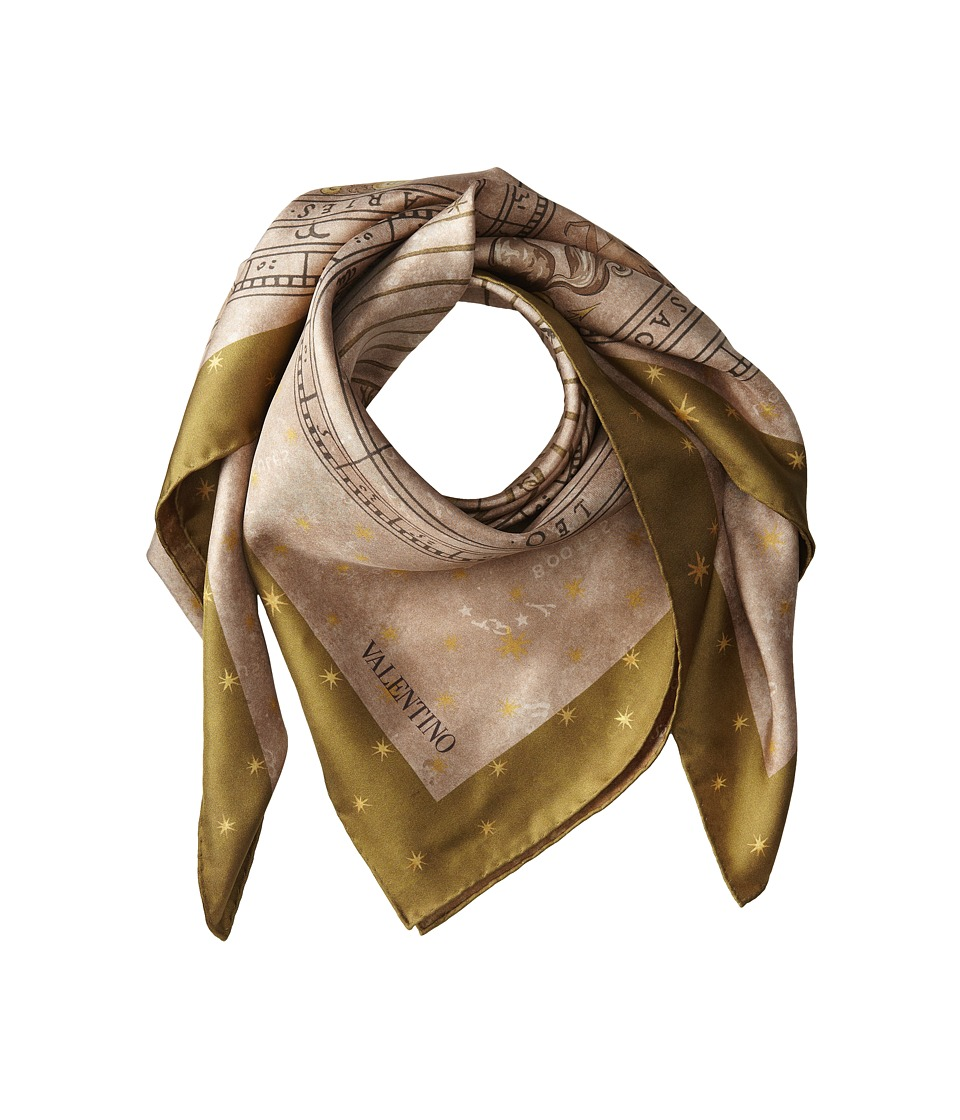Valentino - Astral Chart Double Sided Twill Scarf (Green) Scarves