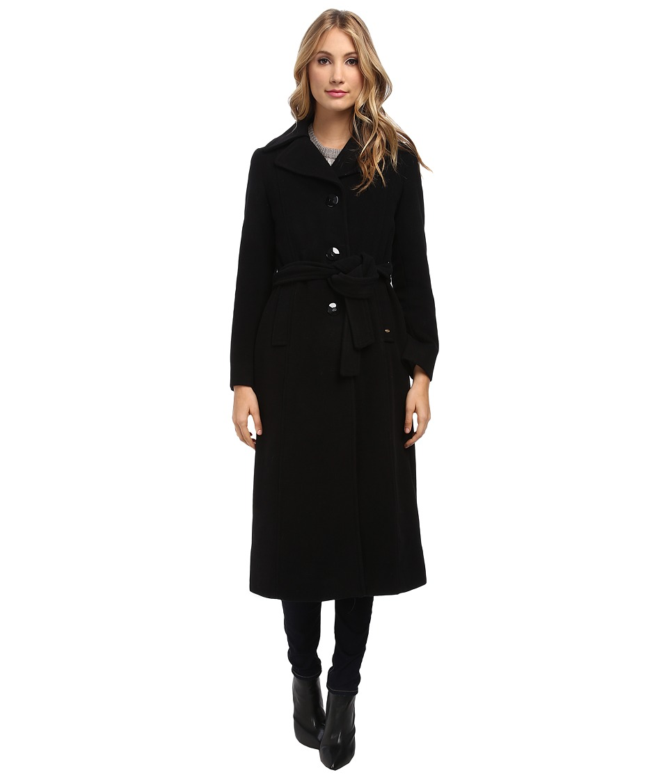 Ellen Tracy - Maxi Belted Wool Coat (Black) Women's Coat