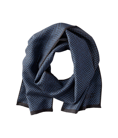 Valentino - Herringbone Dot Silk Scarf (Black/Blue) Scarves