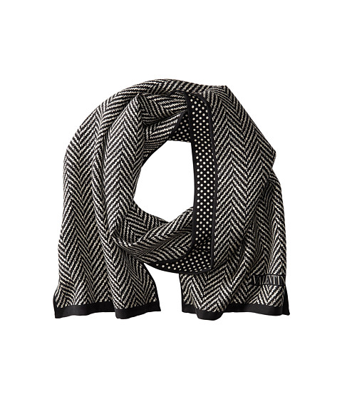 Valentino - Herringbone Dot Silk Scarf (Black/White) Scarves