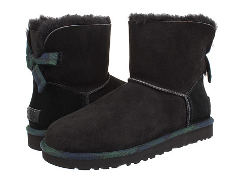 UGG - Mini Bailey Bow Plaid (Black) Women's Boots