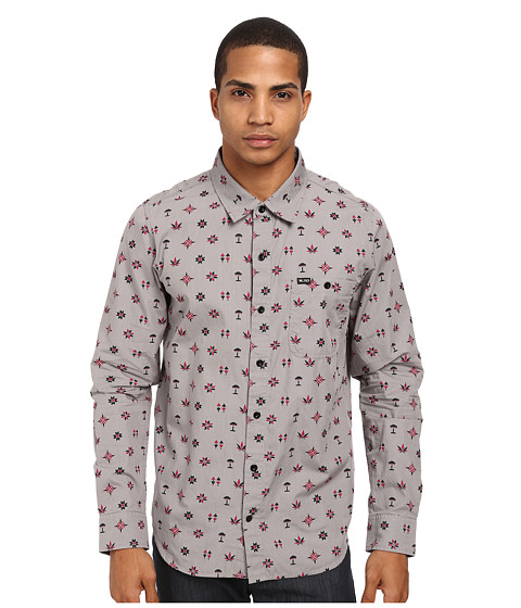 L-R-G - Crystal Peak L/S Woven (Charcoal) Men's Long Sleeve Button Up