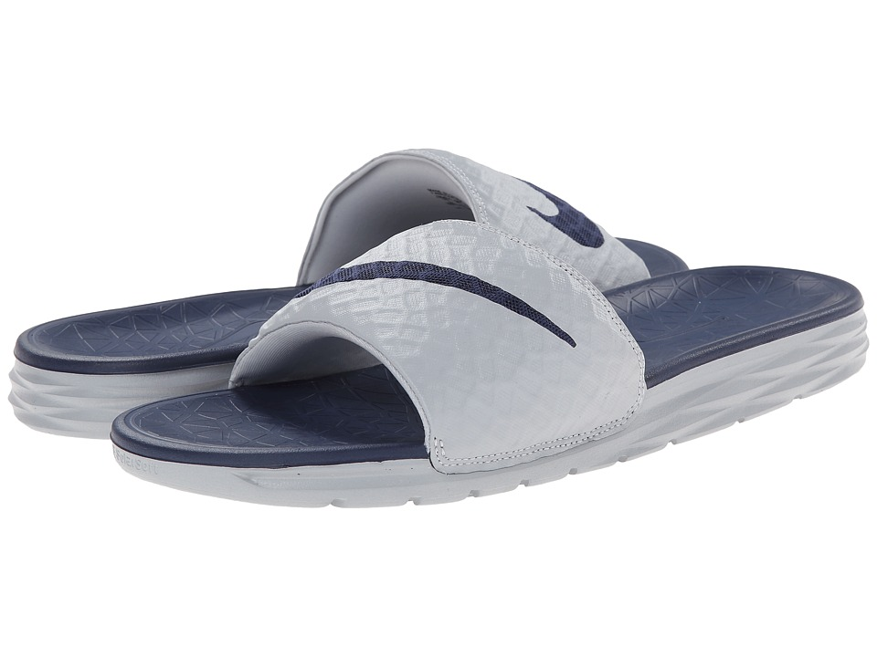 Nike - Benassi Solarsoft Slide 2 (Wolf Grey/Midnight Navy) Men's Slide Shoes