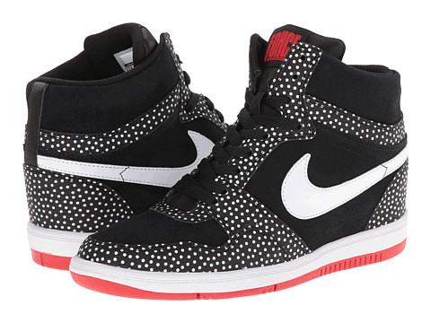 Nike - Force Sky High Sneaker Wedge (Black/University Red/White/White) Women