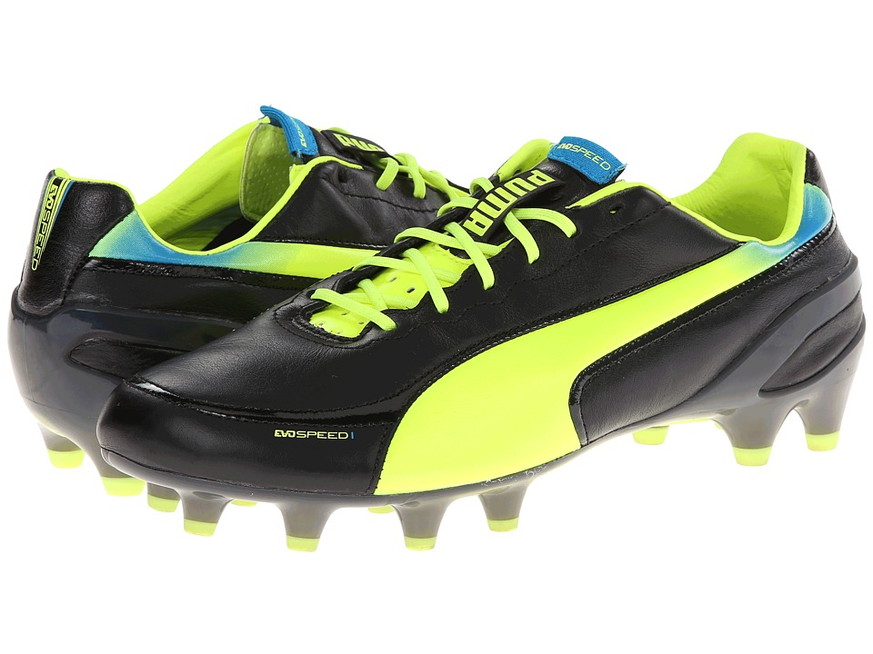 PUMA - evoSPEED 1.2 L FG (Black/Fluorescent Yellow) Men's Shoes