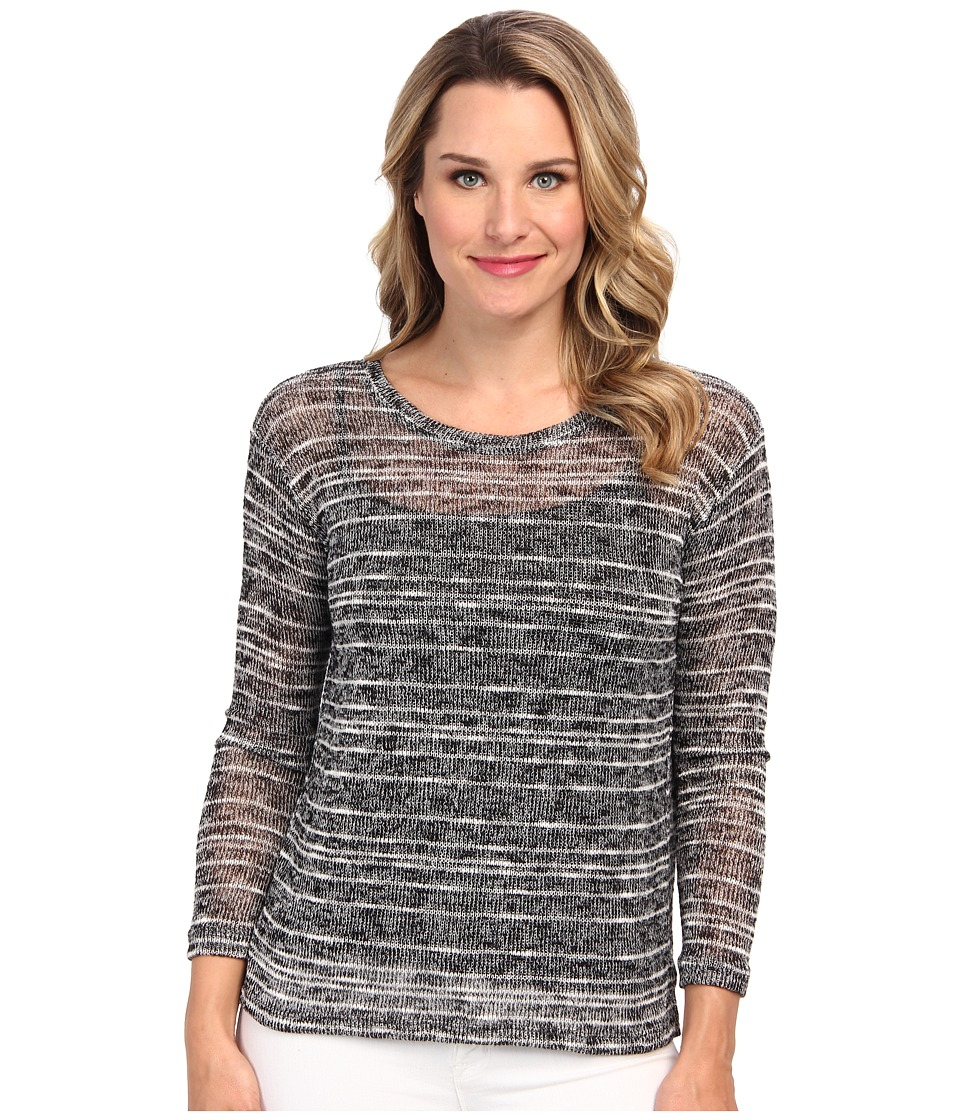 Nally & Millie - L/S High Low Sweater Tunic w/ Pleated Back (Black) Women