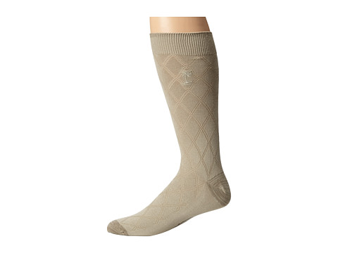 Tommy Bahama - Free-Run Diamond Socks (Stone) Men's Crew Cut Socks Shoes