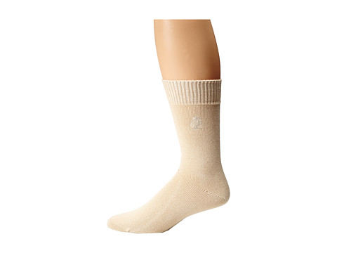 Tommy Bahama - Initial Embroidery Crew Socks (Cream) Men's Crew Cut Socks Shoes