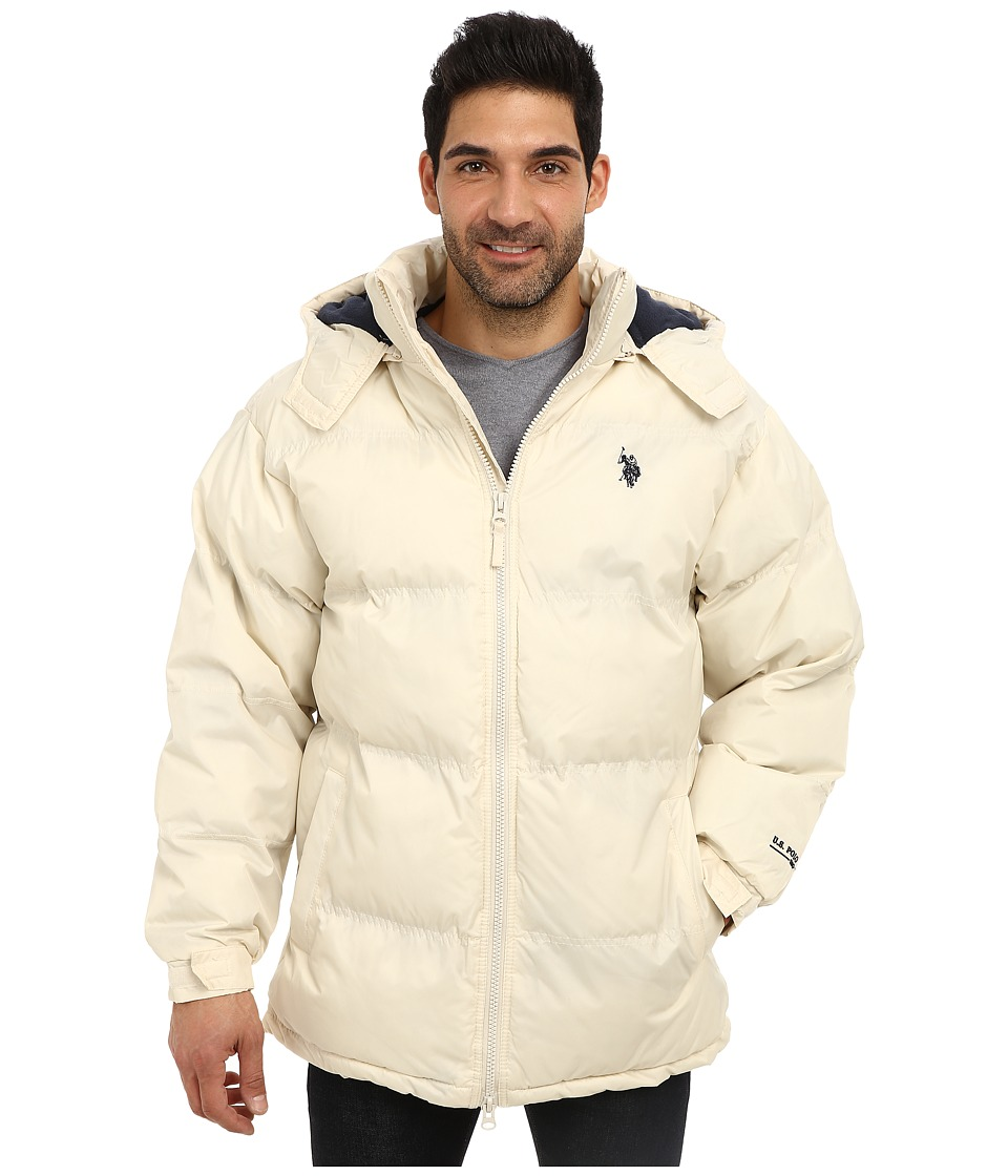 U.S. POLO ASSN. - Signature Long Bubble Coat w/ Small Pony Polar Fleece Lining (White Winter) Men's Coat plus size,  plus size fashion plus size appare