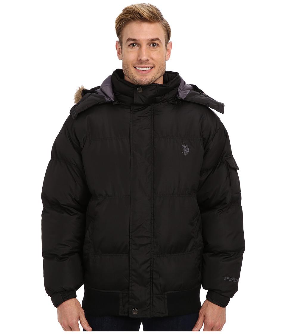 U.S. POLO ASSN. - Short Snorkel Coat w/ Small Pony (Black) Men's Coat plus size,  plus size fashion plus size appare