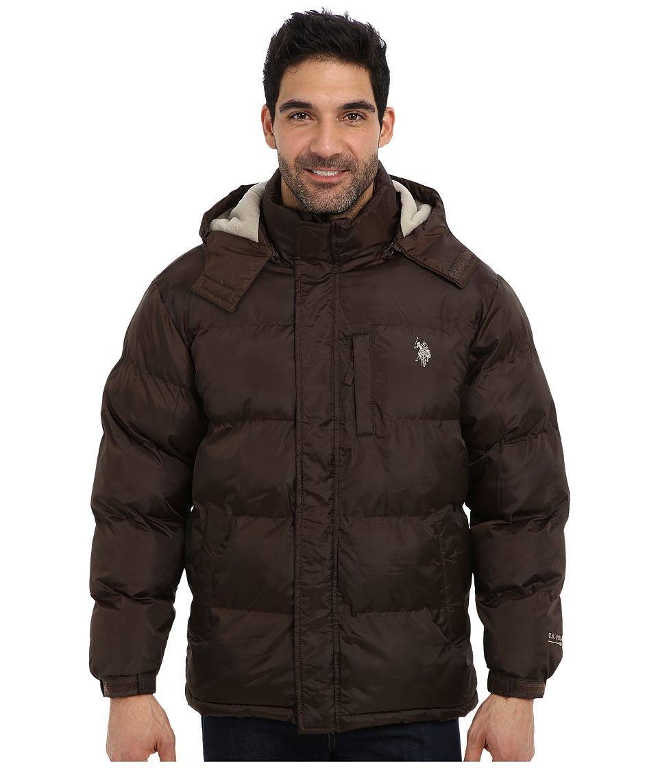 U.S. POLO ASSN. - Classic Short Bubble Coat w/ Small Pony (Dark Brown) Men's Coat