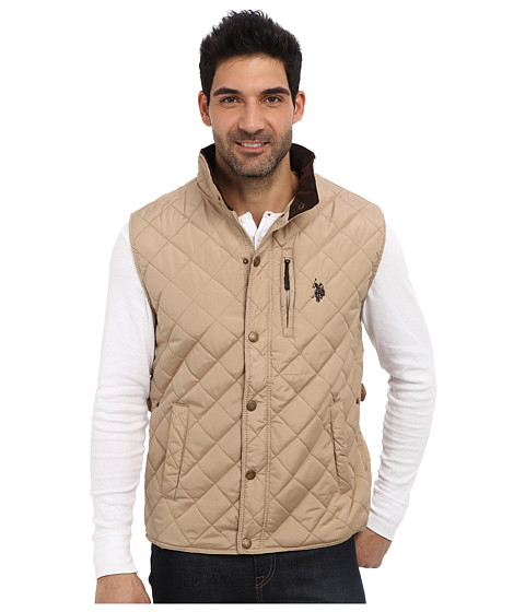 U.S. POLO ASSN. - Diamond Quilted Vest (Thomston Khaki) Men's Vest