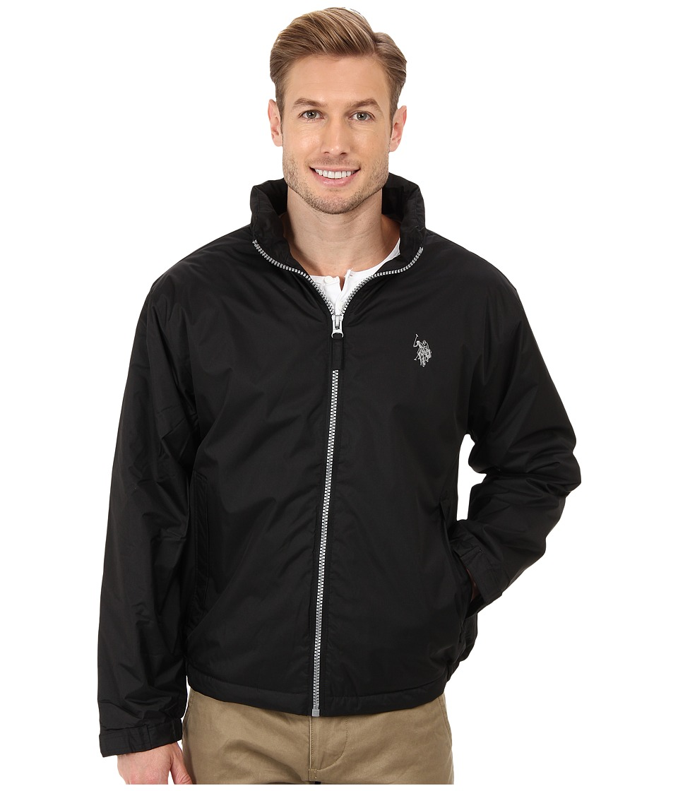 U.S. POLO ASSN. - Solid Hooded Windbreaker with Polar Fleece Lining and Small Pony (Black) Men's Coat
