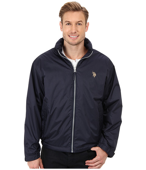 U.S. POLO ASSN. - Solid Hooded Windbreaker with Polar Fleece Lining and Small Pony (Classic Navy) Men's Coat
