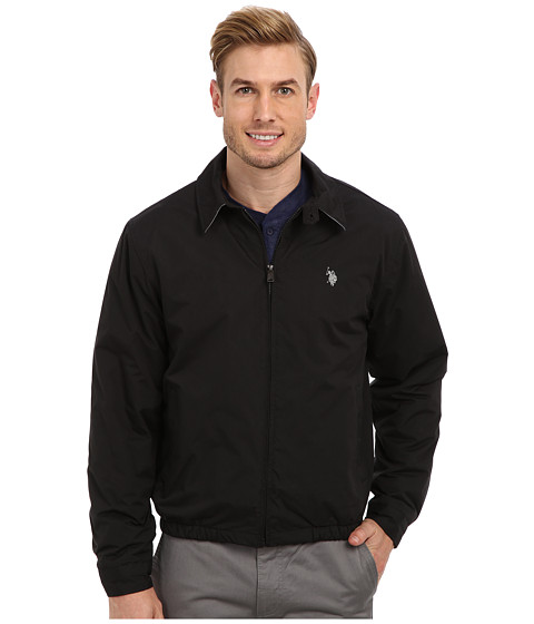 U.S. POLO ASSN. - Micro Golf Jacket with Small Pony (Black/Limestone) Men's Coat